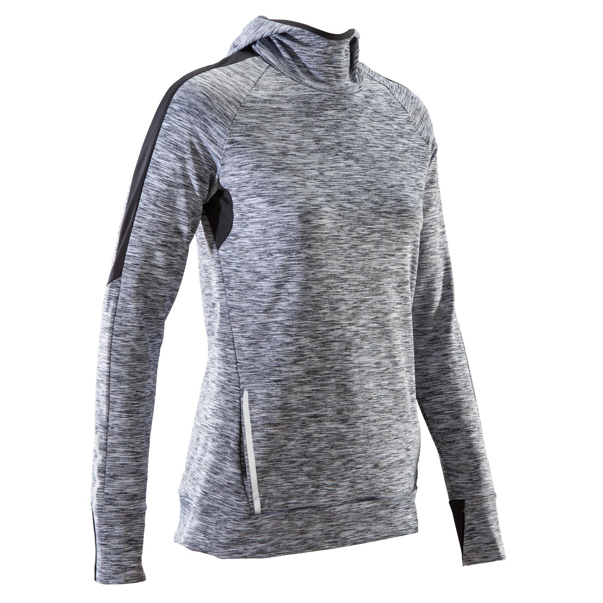 Kalenji Hardloopshirt met lange mouwen jogging dames Run Warm Hood gemêleerd grijs