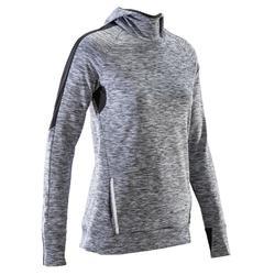 Hardloopshirt met lange mouwen jogging dames Run Warm Hood gemêleerd grijs