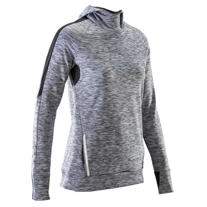 Run Warm Women's Running Long-Sleeved Jersey Hood - Mottled Grey  - 1506082