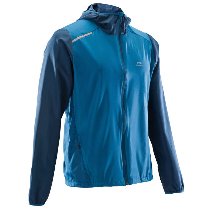 MAN JOGGING WINDY WEATHER CLOTHES Clothing - RUN WIND M JACKET HOOD BLUE KALENJI - Tops