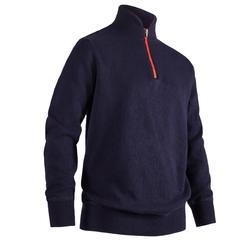 兒童款防風高爾夫立領針織衫-軍藍色