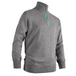 兒童款防風高爾夫立領針織衫-灰色