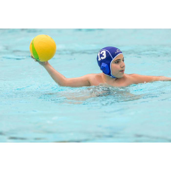 Bonnet water polo 500 junior easyplay à scratch bleu