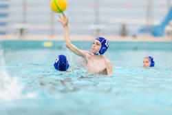 Set of 15 blue Easyplay kid's water polo caps