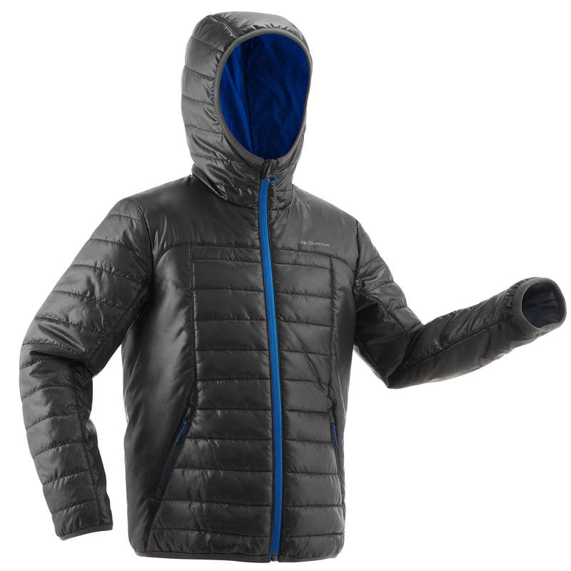 CHILDREN MOUNTAIN HIKING FLEECES, SOFT Hiking - MH500 Padded Jkt - Black Blue QUECHUA - Hiking Clothes