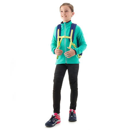 Children age 7-15 hiking fleece jacket MH150 - turquoise blue