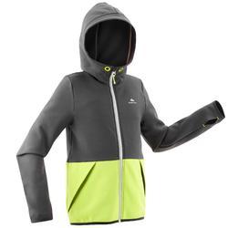 Fleecejacke Wandern MH500 Kinder Jungen 128-164cm grau/gelb