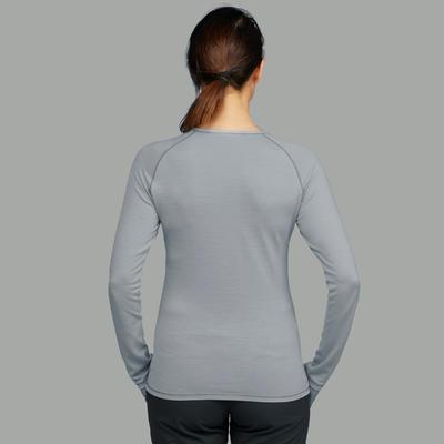 Camiseta lana merina trekking montaña Techwool 190 manga larga mujer gris