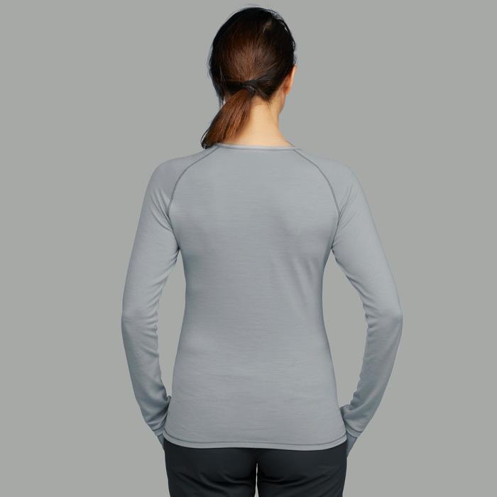 Merino shirt met lange mouwen voor bergtrekking dames Trek 500 grijs