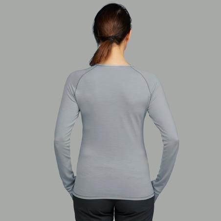 Women's Mountain Trekking long sleeved merino wool t-shirt TREK 500 - grey
