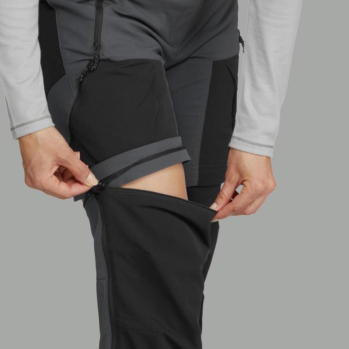 Pantalon modulable trekking montagne TREK500 femme Gris Foncé