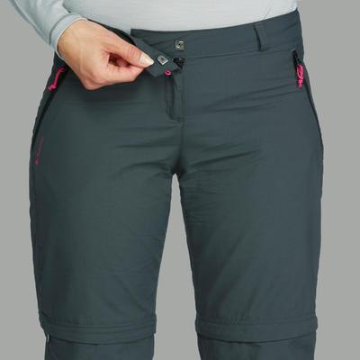Pantalón transformable de Montaña y Trekking, Forclaz, Trek 100, Mujer, Gris