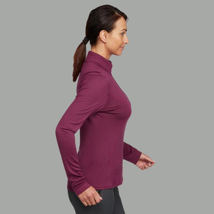 T- Shirt manches longues trekking montagne TECHWOOL190 zip femme rose