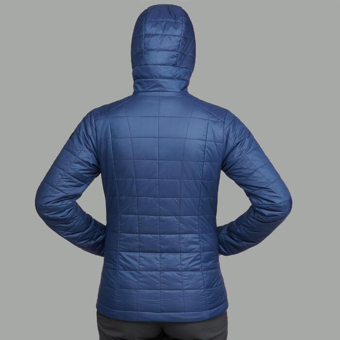 Abrigo Chaqueta acolchada Montaña y Trekking TREK 100 capucha mujer azul