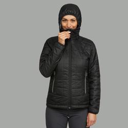 Gewatteerde damesjas met kap voor bergtrekking Trek 100 zwart