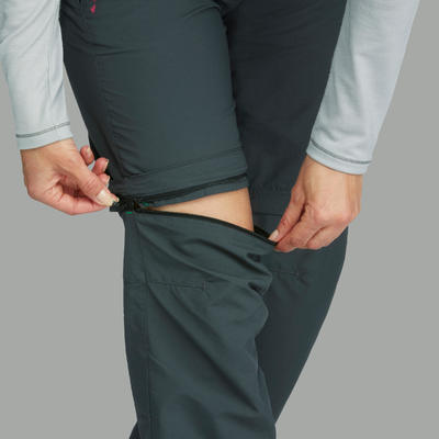 מכנסי נשים מתפרקים TREK 100 לטרקים בהרים - אפור כהה