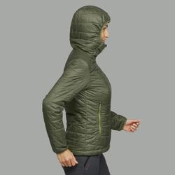 女款登山健行兜帽化纖填充外套TREK100–橄欖綠