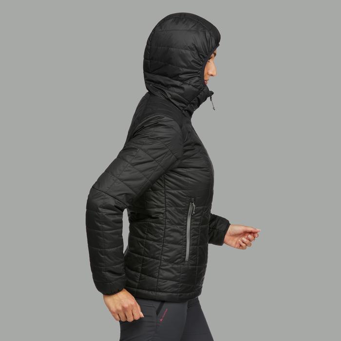 Gewatteerde jas met capuchon voor bergtrekking dames Trek 100 zwart
