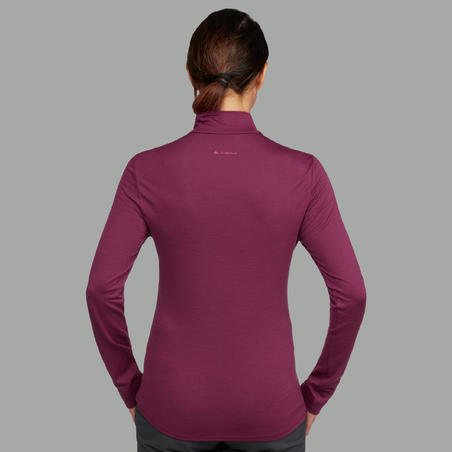 Women's Pink Long-Sleeved Mountain Trekking Shirt TECHWOOL190 Zipper