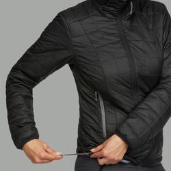 女款兜帽登山健行化纖填充外套TREK 100-黑色