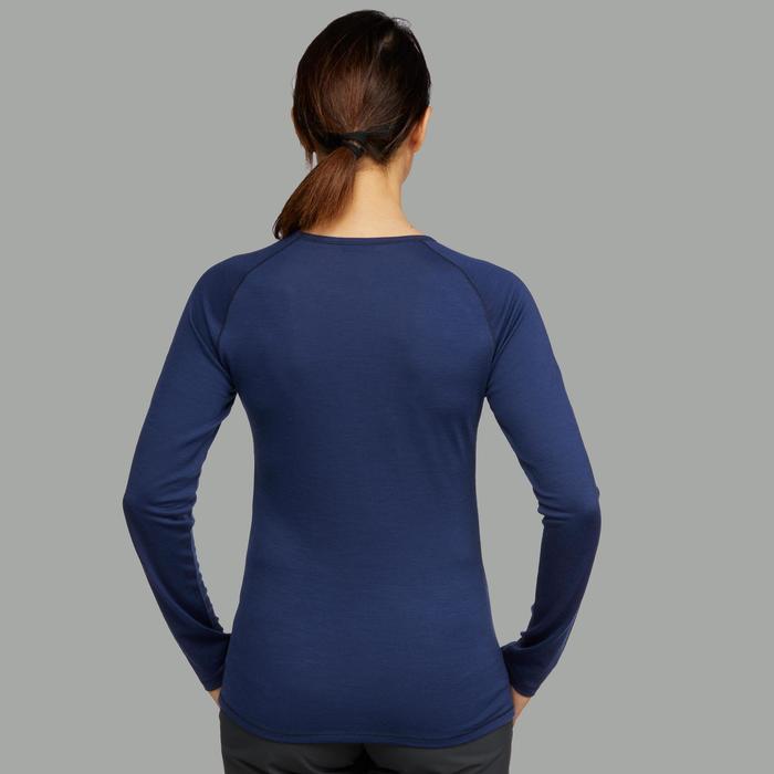 Tee-shirt manches longues laine mérinos de trek montagne - TREK 500 bleu Femme