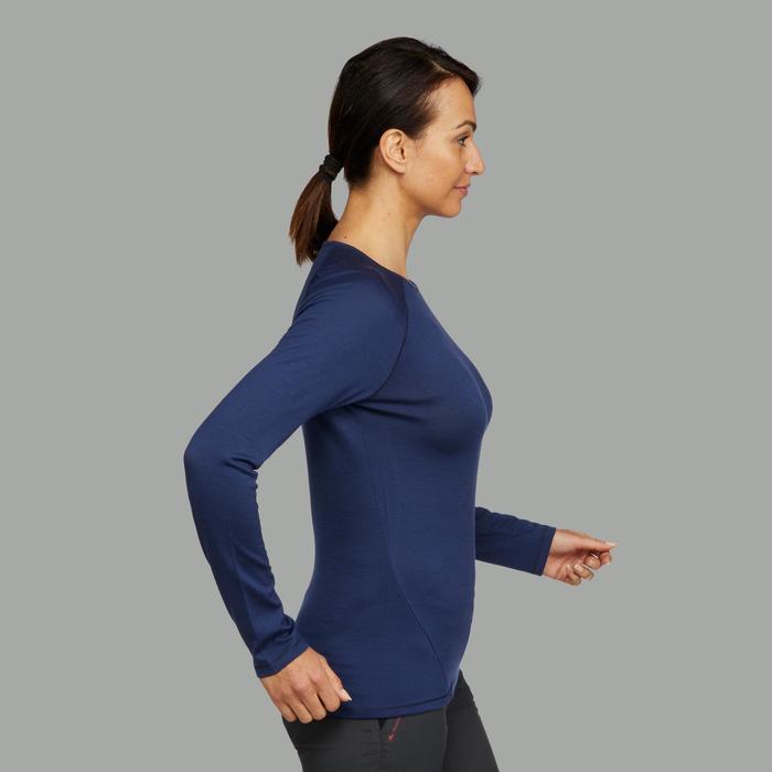 Camiseta de manga larga trekking en montaña Techwool 190 mujer azul