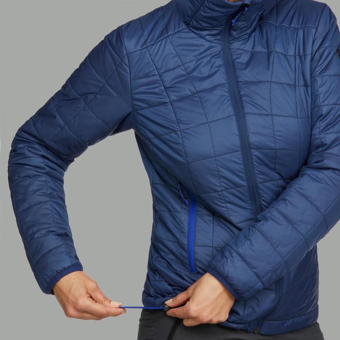 Gewatteerde jas met capuchon voor bergtrekking dames Trek 100 blauw