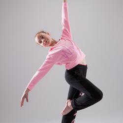 Sweat de danse capuche fille rose fluo.