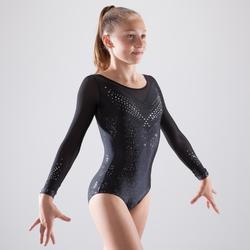 Maillot de manga larga de gimnasia artística femenina estrás negro