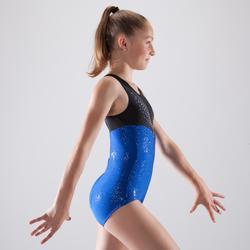 Gymnastikanzug Turnanzug ärmellos 900 DEB Strass blau