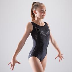 Maillot sin mangas de gimnasia artística femenina estrás negro