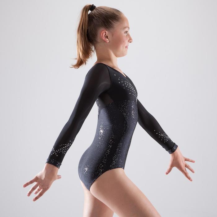 Justaucorps manches longues de gymnastique artistique féminine strass - 1507194