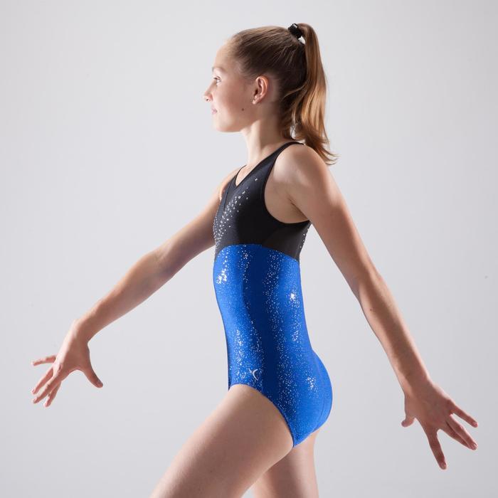 Maillot sin mangas de gimnasia artística femenina estrás azul