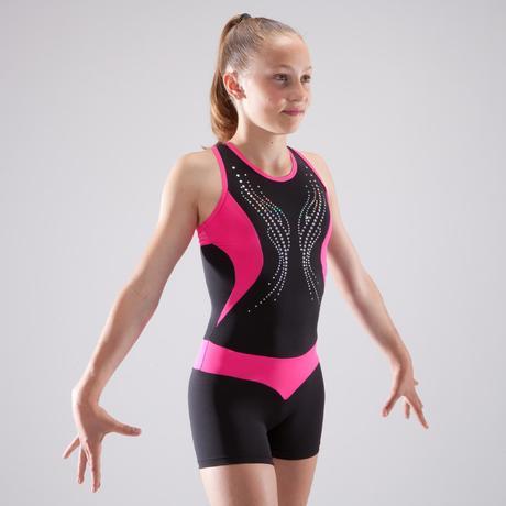 Combishort de gymnastique artistique féminine noir et rose sequins ... 462b27d9fba
