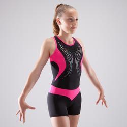Monoshort de gimnasia artística femenina negro y rosa lentejuelas