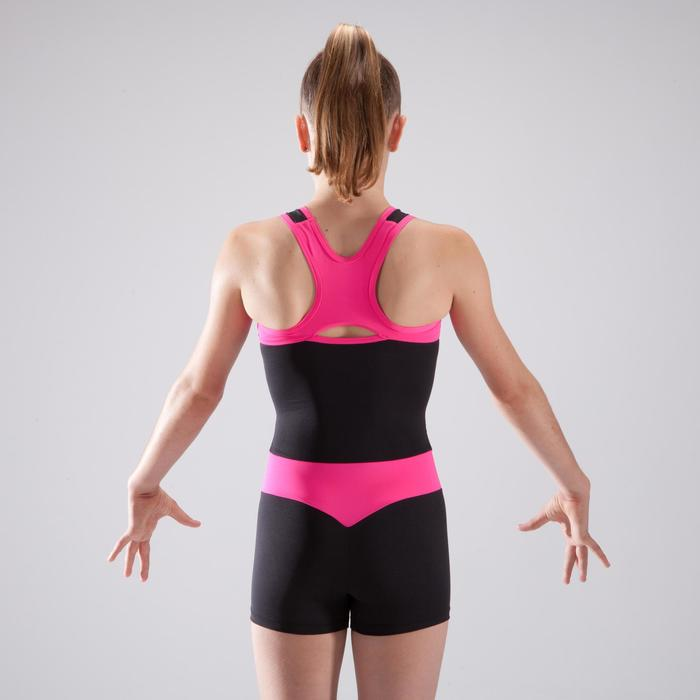 Combishort de gymnastique artistique féminine noir et rose sequins