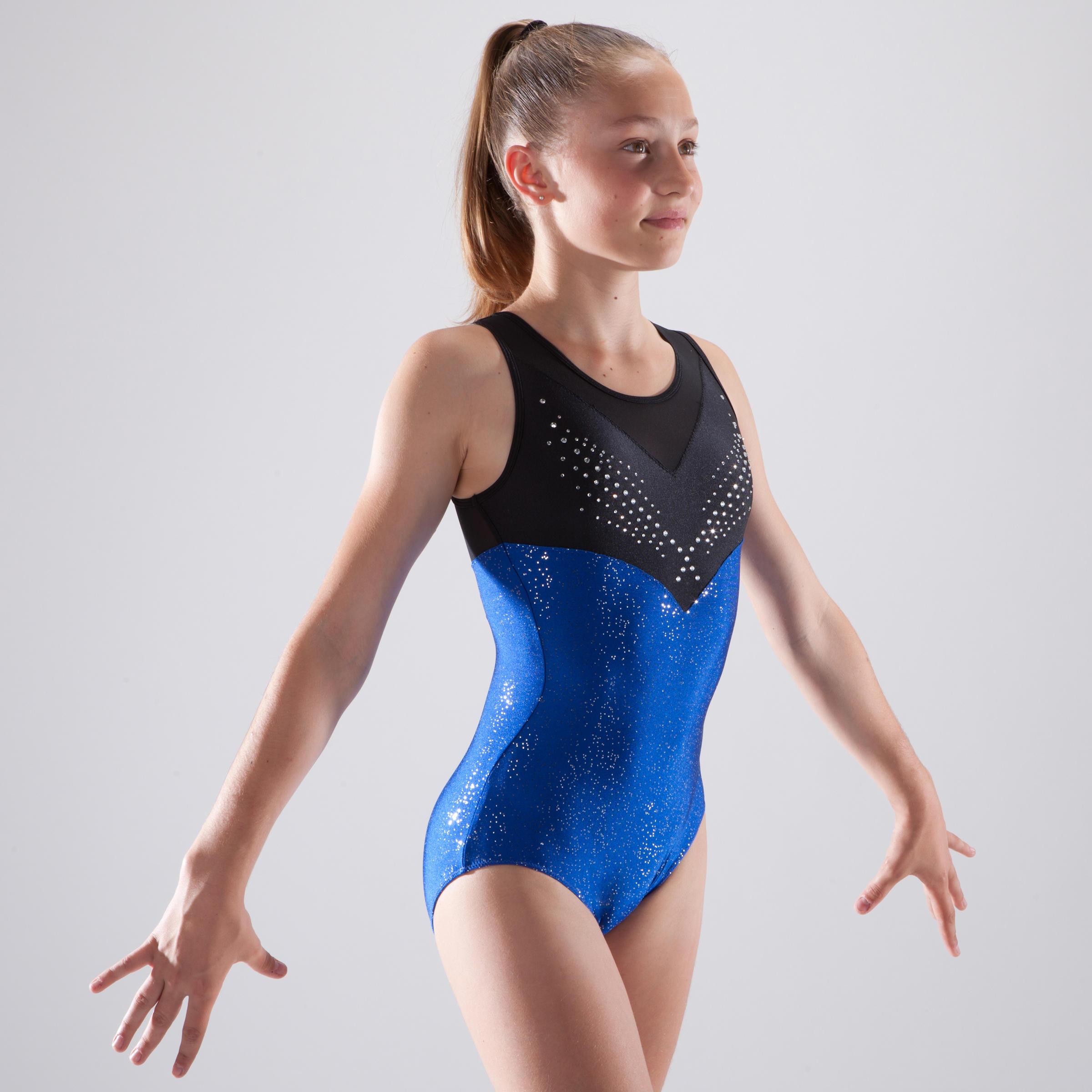 Girls' Artistic Gymnastics Sleeveless Leotard - Blue/Rhinestones