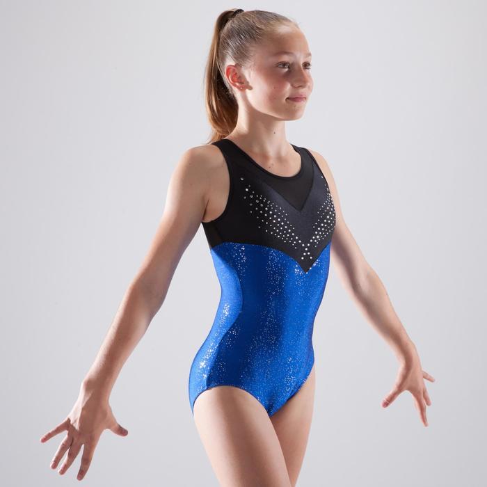 Justaucorps sans manches de gymnastique artistique féminine strass bleu