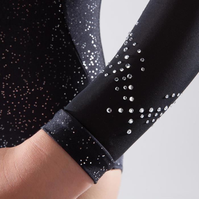 Turnpakje met lange mouwen voor toestelturnen dames zwart met strass