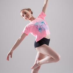 T-shirt manches courtes de danse, court et ample, fille bleu