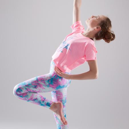 T-shirt à manches courtes de danse court et ample rose fluo - Filles