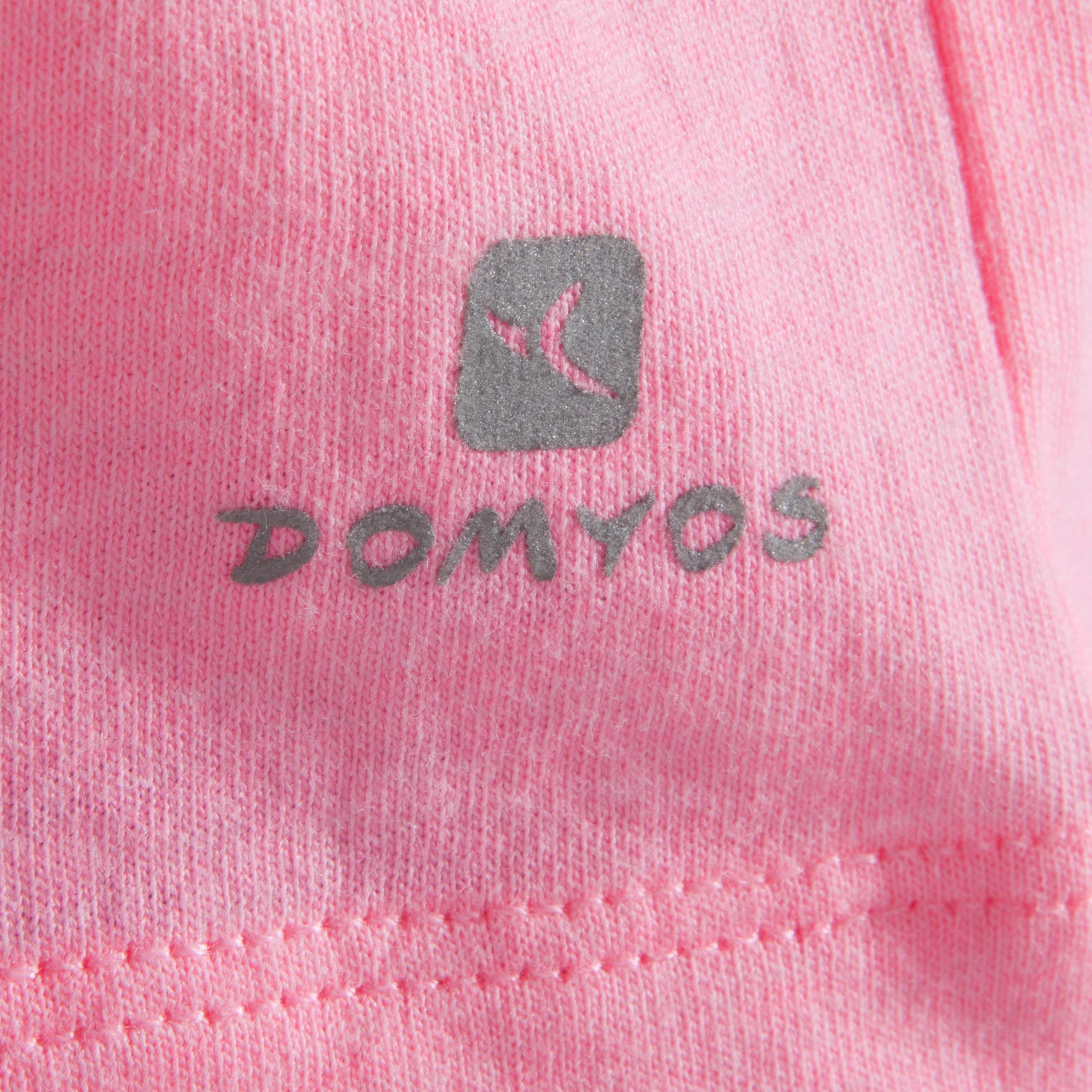 T-shirt manches courtes de danse, court et ample, fille rose fluo.