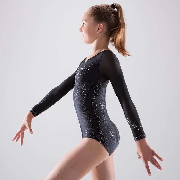 Justaucorps manches longues de gymnastique artistique féminine strass - 1507279