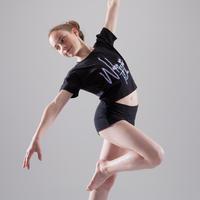 T-shirt manches courtes de danse, court et ample, fille noir.