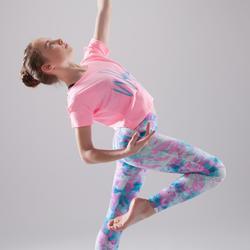 Camiseta de danza, corta y amplia, manga corta niña rosa fluo