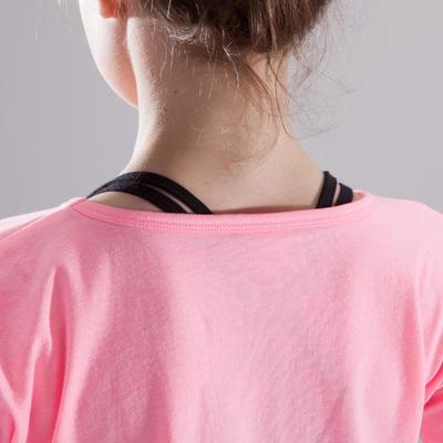 חולצת טי קצרה לבנות למחול- ורוד ניאון