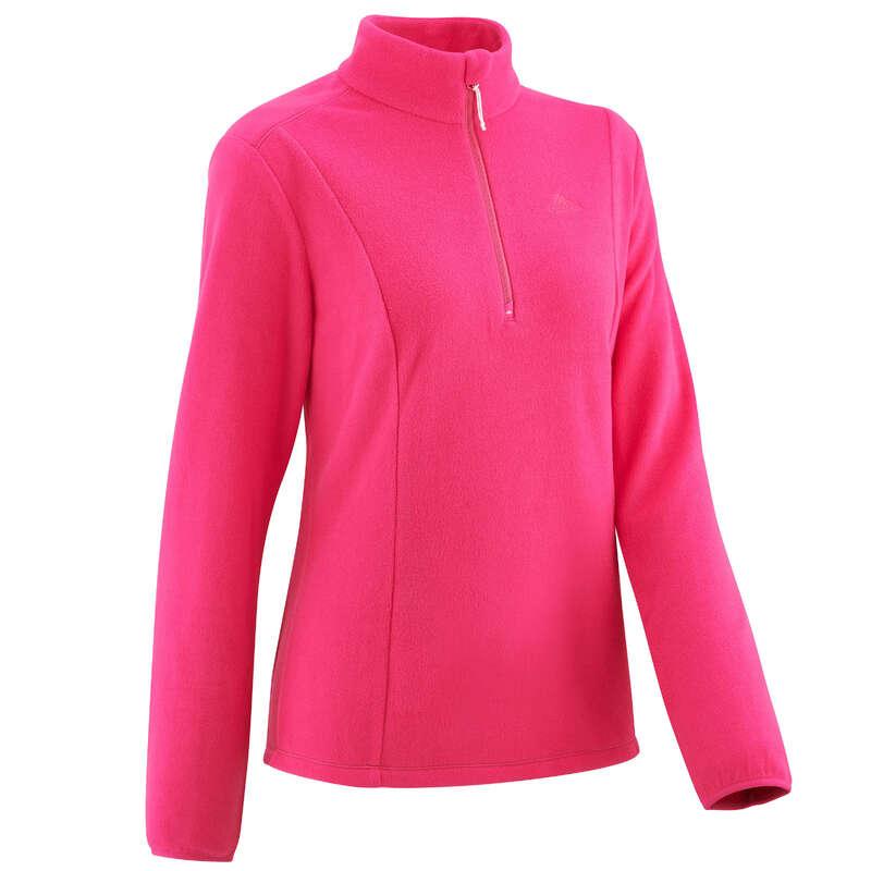 WOMEN MOUNT HIKING FLEECES Hiking - MH100 W Fleece - Pink QUECHUA - Hiking Clothes
