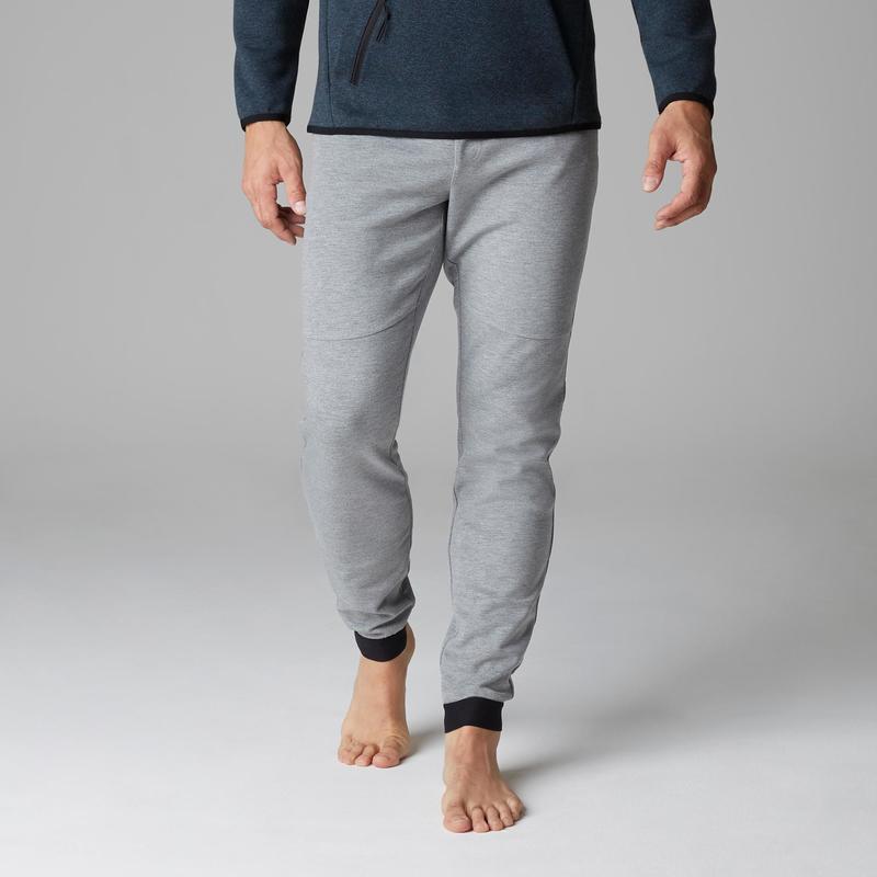 Pánské kalhoty 560 slim na cvičení a strečink světle šedé  5748832237