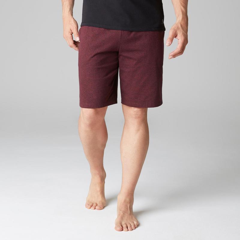 Pánské šortky 500 regular nad kolena na cvičení vínové  2768c9b634