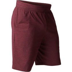 500 Knee-Length Regular-Fit Gentle Gym & Pilates Shorts - Burgundy